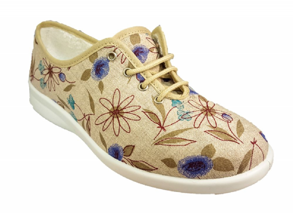 Marina variable fit pretty laced summer canvas printed shoe
